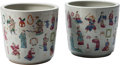 Asian:Chinese, A Pair of Chinese Famille Rose Enameled Porcelain Planters. 13-1/2inches high x 14 inches diameter (34.3 x 35.6 cm). ... (Total: 2Items)