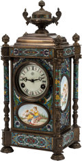 Decorative Arts, Continental:Other , A Louis XVI-Style Champlevé and Enameled Bronze Clock. 18-1/2 h x8-1/2 w x 7 d inches (47.0 x 21.6 x 17.8 cm). ...