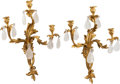 Decorative Arts, Continental:Lamps & Lighting, A Pair of Louis XV-Style Gilt Bronze and Rock Crystal Three-LightSconces. 26 h x 18 w x 7 d inches (66.0 x 45.7 x 17.8 cm)...(Total: 2 Items)