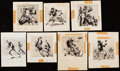 Football Cards:Lots, 1961 Topps Football Art Powell, Dave Middleton, and Others Original Art (Lot of 7).. ...