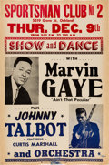 Music Memorabilia:Posters, Marvin Gaye Sportsman Club No.2 Concert Poster (1965). Extremely Rare....
