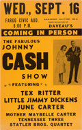 Music Memorabilia:Posters, Johnny Cash Fargo Civic Auditorium Concert Poster (1964). Very Rare....