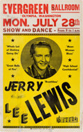 Music Memorabilia:Posters, Jerry Lee Lewis Evergreen Ballroom Concert Poster (1958). Extremely Rare....