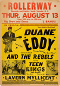 Music Memorabilia:Posters, Duane Eddy Rollerway Concert Poster (1959). Extremely Rare....
