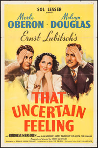 """That Uncertain Feeling (United Artists, 1941). One Sheet (27"""" X 41""""). Comedy"""