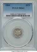 Three Cent Silver: , 1864 3CS MS61 PCGS. PCGS Population: (5/102). NGC Census: (3/78).CDN: $930 Whsle. Bid for problem-free NGC/PCGS MS61...