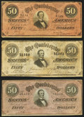 Confederate Notes, T66 $50 1864 PF-1; PF-11; PF-13. ... (Total: 3 notes)