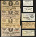 Confederate Notes:Group Lots, A Selection of Type 63 and Type 72 CSA 50¢ notes and ConfederateBond Coupons. Nine Examples.. ... (Total: 9 items)
