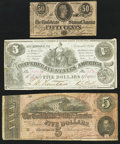 Confederate Notes:Group Lots, A Selection of Confederate Treasury Notes 1861-1864. Six Examples..... (Total: 6 notes)