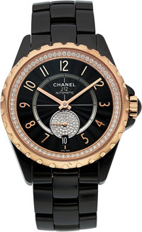 Chanel Lady's Diamond, Ceramic, Rose Gold, Stainless Steel J12 Watch
