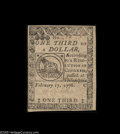 Colonial Notes:Continental Congress Issues, Continental Currency February 17, 1776 $1/3 About New. Quite a niceexample of this always-popular Fractional Continental ty...
