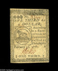 Colonial Notes:Continental Congress Issues, Continental Currency February 17, 1776 $1/3 Choice Very Fine.Nicely signed and with no defects save some minor circulation ...
