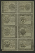 Colonial Notes:Continental Congress Issues, Continental Currency September 26, 1778 Blue Counterfeit DetectorHalf Sheet of Eight Choice New. All eight denominations ar...
