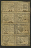 Colonial Notes:Continental Congress Issues, Continental Currency September 26, 1778 Half Sheet of Eight Extremely Fine. There is one each of every denomination from thi...