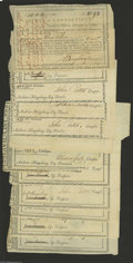 Colonial Notes:Connecticut, Connecticut Comptroller's Payments. 1788-1809 Very Fine toExtremely Fine. There are a few different designs in this lot. A... (12 notes)