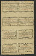 Colonial Notes:New York, New York March 5 ,1776 (Water Works) 8s Uncut Sheet of Eight VeryChoice New. Only the second example we've seen of a Waterw...