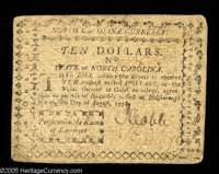 North Carolina August 8, 1778 $10 Very Fine. The corners are rounded but the note is free from the splits, marks, and da...