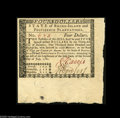 Colonial Notes:Rhode Island, Rhode Island July 2, 1780 $4 Superb Gem New. Hugely margined at thebottom and right....