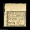 Colonial Notes:Rhode Island, Rhode Island July 2, 1780 $5 Gem New. Hugely margined at the topand the left, but the back design is just touched by the ma...