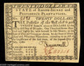 Colonial Notes:Rhode Island, Rhode Island July 2, 1780 $20 Very Choice New. Quite near the fullGem grade and, importantly, fully signed on both sides wi...