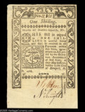 Colonial Notes:Rhode Island, Rhode Island May 1786 1s Very Choice New. A brightly colored,boldly signed, well margined example of this common issue. The...