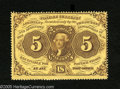 Fractional Currency:First Issue, Fr. 1228 5c First Issue Very Choice New. A fully perforated, beautifully bright piece that would make the Gem grade if the c...