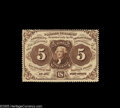 Fractional Currency:First Issue, Fr. 1229 5¢ First Issue Very Choice New. Fully perforated all the way around, with ideal color and fresh original surfaces. ...