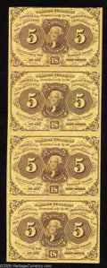 Fractional Currency:First Issue, Fr. 1230 5c First Issue Uncut Strip of Four Gem New. The three bottom notes are fully Gem quality. The top note grades Cho...
