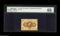 Fractional Currency:First Issue, Fr. 1231 5¢ First Issue PMG Choice Uncirculated 63. A beautiful piece with exceptional color apparently held from the gem gr...