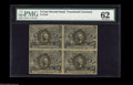 Fractional Currency:Second Issue, Fr. 1232 5¢ Second Issue Block of Four PMG Uncirculated 62. Lightly aged and close at the left, but it appears to be fully u...