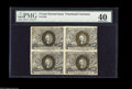 Fractional Currency:Second Issue, Fr. 1233 5¢ Second Issue Block of Four PMG Extremely Fine 40. An attractive, lightly folded block, with a partial back plate...