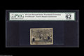 """Fractional Currency:Second Issue, 25¢ Second Issue Experimental PMG Choice Uncirculated 62. The PMG comments are """"foreign substance on back,"""" """"large brown sta..."""