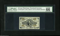 Fractional Currency:Third Issue, Fr. 1251/5SP 10¢ Third Issue Narrow Margin Set of Three PMG Gem Uncirculated. The face and red back are 66's, and the green ... (3 items)