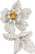 Estate Jewelry:Brooches - Pins, Diamond, Synthetic Sapphire, Platinum Clip-Brooch. ...