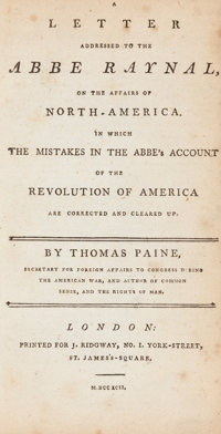 Thomas Paine. Rights of Man. London: 1792. Early edition