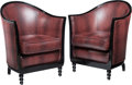 Furniture : French, A Pair of Art Deco-Style Barrel-Back Bergères. 35 h x 26-1/4 w x 25d inches (88.9 x 66.7 x 63.5 cm). PROPERTY FROM THE RI... (Total: 2Items)