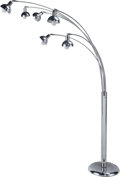 Decorative Arts, Continental:Lamps & Lighting, A Large Modernist Chrome Floor Lamp, 20th century. 74 h x 17-1/2 wx 45 d inches (188.0 x 44.5 x 114.3 cm). ...
