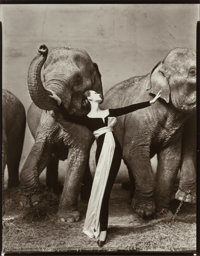Richard Avedon (American, 1923-2004) Dovima with Elephants, Evening Dress by Dior, Cirque d'Hiver, Paris