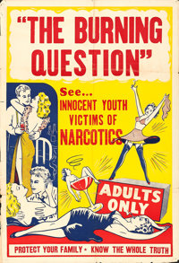 """Reefer Madness (R-1940s). One Sheet (27.5"""" X 41"""") Alternative Title: The Burning Question"""