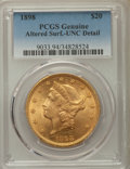 Liberty Double Eagles, 1898 $20 -- Altered Surface -- PCGS Genuine. Unc Details. NGC Census: (103/1464). PCGS Population: (60/1309). MS60. Mintage...