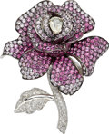 Estate Jewelry:Brooches - Pins, Diamond, Pink Sapphire, White Gold Brooch. ...