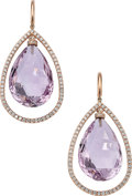 Estate Jewelry:Earrings, Amethyst, Diamond, Rose Gold Earrings . ...