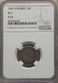 Early Dimes, 1805 10C 4 Berries, JR-2, R.2, Fine 15 NGC....
