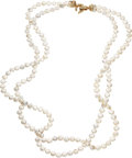 Estate Jewelry:Necklaces, Freshwater Cultured Pearl, Diamond, Gold Necklace. ...