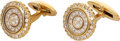 Estate Jewelry:Cufflinks, Diamond, 18k Gold Cuff Links, Waltham. ...