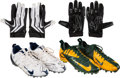 Football Collectibles:Others, 2000's Donald Driver Game Worn, Signed Cleats (2 Pair) & Receiving Gloves (2 Pair)....