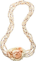 Estate Jewelry:Necklaces, Coral, Amethyst, White Gold Necklace, Carvin French. ...