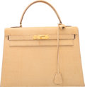 Luxury Accessories:Bags, Hermes 32cm Blanc Casse Lizard Sellier Kelly Bag with Gold...