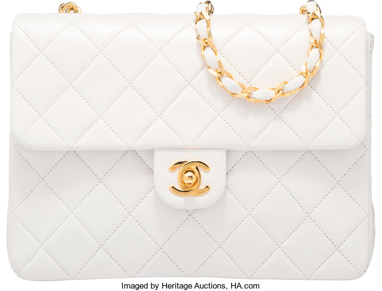 Luxury Accessories Bags, Chanel White Lambskin Leather Small Single Flap  Bag with GoldHardware. 86b092e28c