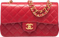 """Luxury Accessories:Bags, Chanel Red Lambskin Leather Medium Double Flap Bag with GoldHardware. Condition: 4. 10"""" Width x 6"""" Height x 2.5""""Dept..."""